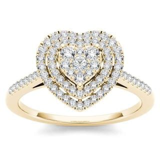 De Couer 10k Yellow Gold 1/3ct TDW Diamond Cluster Heart-Shaped Frame Engagement Ring (H-I,I2)