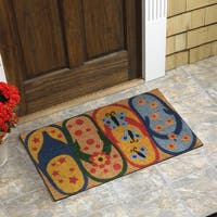 Multicolored Coir 18-inch x 30-inch Flip Flop Vinyl-backed Door Mat