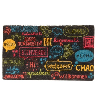 Multicolor Coir Welcome Languages Vinyl-backed Door Mat (18 x 30)