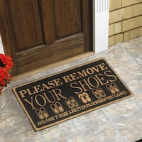 Please Remove your Shoes Black Coir 18-inch x 30-inch Door Mat