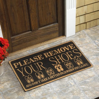 Please Remove your Shoes Coir Door Mat (18-Inchx30-Inch) & Door Mats For Less   Overstock.com