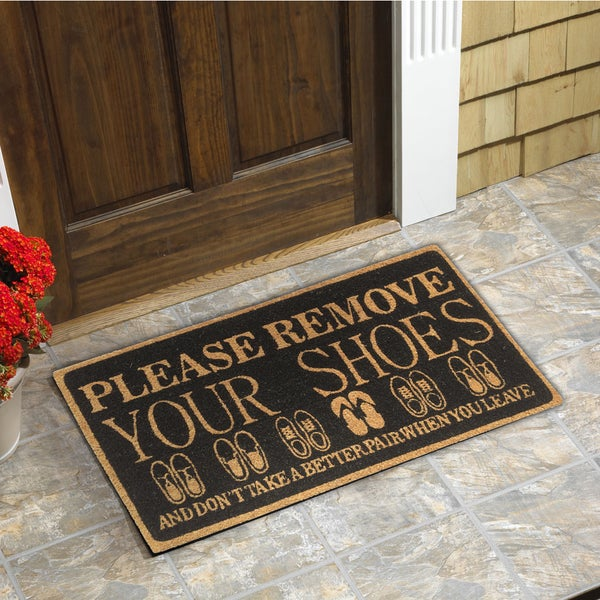 Please Remove Your Shoes Coir Door Mat (18 Inchx30 Inch)
