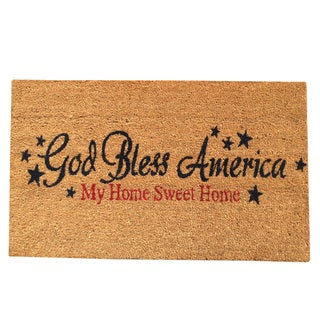 Multicolored Vinyl-backed Coir 'God Bless America' Non-skid Door Mat (18 inches x 30 inches)