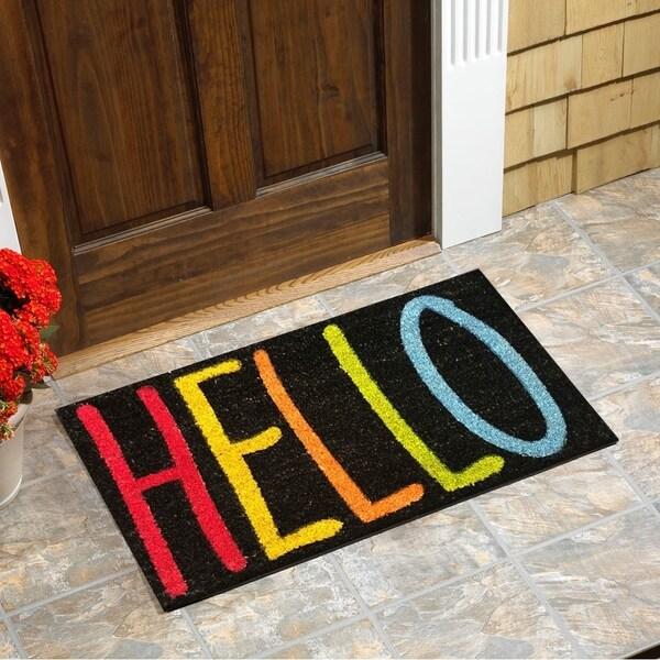 Multicolor Coir/Vinyl Backing 18-inch x 30-inch 'Hello' Door Mat
