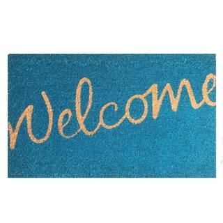 Welcome Natural/ Blue Coir Vinyl-backed Door Mat (1'6 x 2'6)