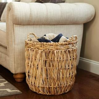 Tan Wicker Tall Round Floor Basket with Handles - 19'' x 25''. Opens flyout.