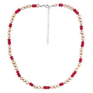 Sterling Silver Red Agate and Pearl Necklace