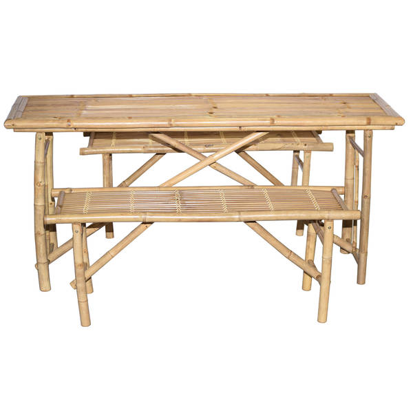 3 Piece Folding Picnic Table and Bench Set (Vietnam)  sc 1 st  Overstock.com & 3 Piece Folding Picnic Table and Bench Set (Vietnam) - Free Shipping ...