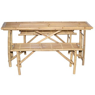 Handmade 3 Piece Folding Picnic Table and Bench Set (Vietnam)