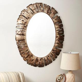 Brown Metal Oval Wall Mirror