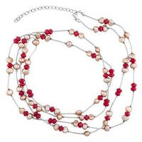 Liquid Silver Sterling Silver Red Agate and Pearl Necklace