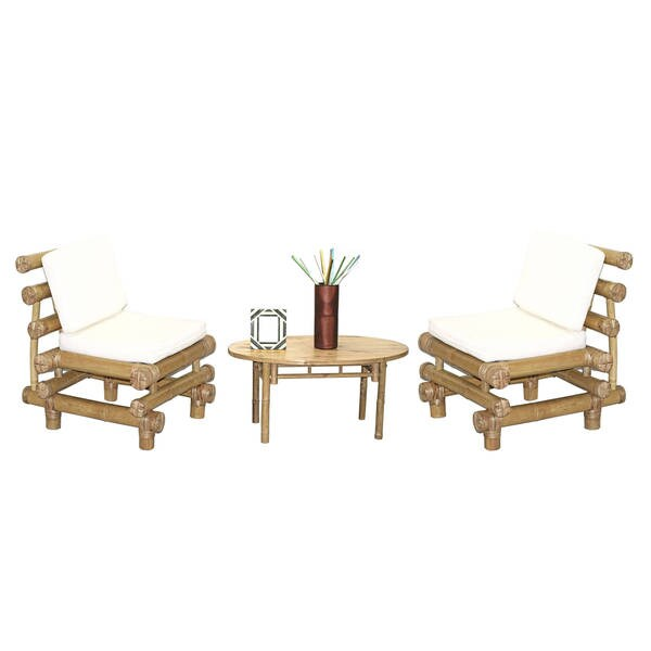 Handmade 5 Piece Payang Chairs and Oval Table Set (Vietnam)
