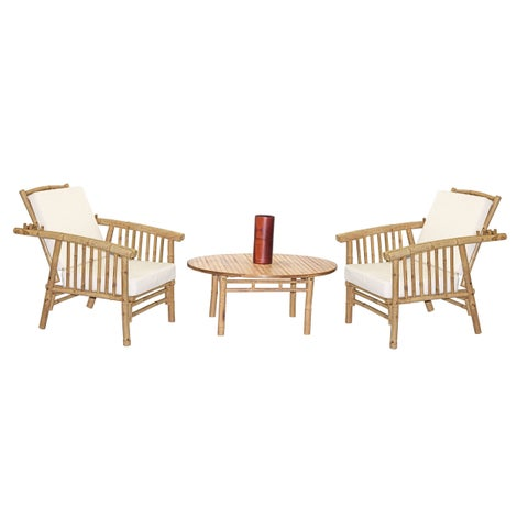 Handmade 4 Piece Mikong Chairs with Round Table Set (Vietnam)