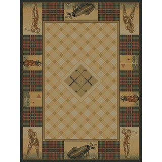 Westfield Home Ridgeland Golf Pro Black, Green, Natural, Beige, and Burgundy Plaid Olefin Accent Rug (1'10 x 3')