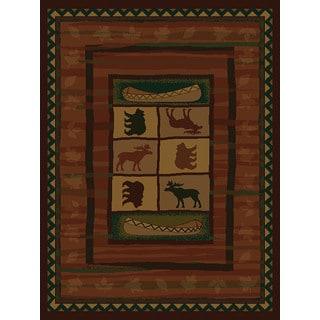 Westfield Home Ridgeland Montana Black/Green/Gold/Beige/Burgundy/Brown Polypropylene Runner Rug (1'11 x 7'4)