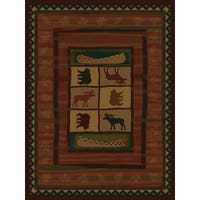 "Westfield Home Ridgeland Montana Black/Green/Gold/Beige/Burgundy/Brown Polypropylene Runner Rug - 1'11"" x 7'6"""