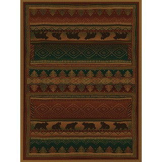Ridgeland Bear Forest Runner Burgundy/Green Rug (1'11 x 7'4)