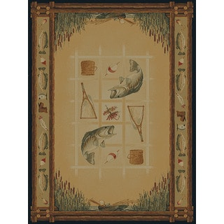 Ridgeland Fish Border Runner Rug (1'11 x 7' 4)