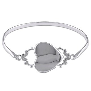Miadora Heart Locket Bangle in Polished Sterling Silver