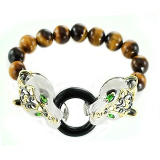 One-of-a-kind Michael Valitutti Tiger's Eye, Black Onyx and Chrome Diopside Bracelet