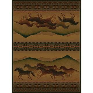 Westfield Home Ridgeland Galloping Horses Multicolored Polypropylene Runner Rug (1'11 X 7' 4)