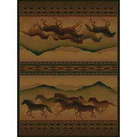 "Westfield Home Ridgeland Galloping Horses Multicolored Polypropylene Runner Rug - 1'11"" x 7'6"""