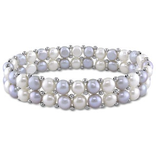 6-7mm Light Grey and White Freshwater Cultured Pearl 2-Row Stretchable Brass Beaded Bracelet by Miadora