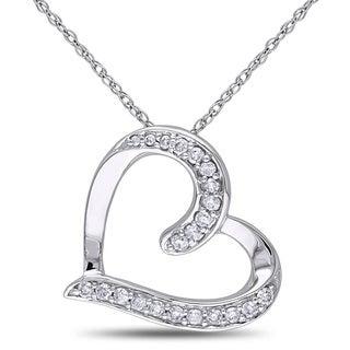 Miadora 10k White Gold 1/5ct TDW Diamond Tilted-heart Necklace