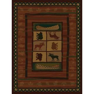 Westfield Home Ridgeland Montana Black/Green/Gold/Beige/Burgundy/Brown Polypropylene Accent Rug (3'11 x 5'3)