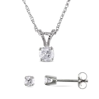 1/2ct TDW Diamond Solitaire Drop Necklace and Stud Earrings 2-Piece Set in 14k White Gold by Miadora