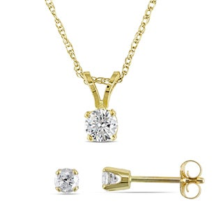 1/2ct TDW Diamond Solitaire V-Shape Drop Necklace and Stud Earrings 2-Piece Set in 14k Yellow Gold by Miadora