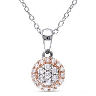 Miadora 2-tone White and Rose Plated Sterling Silver 1/4ct TDW Diamond Vintage Halo Cluster Drop Necklace (H-I, I2-I3)