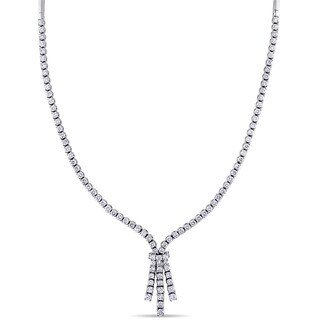 6-1/3ct TDW Diamond Tassel Necklace in 18k White Gold by The Miadora Signature Collection