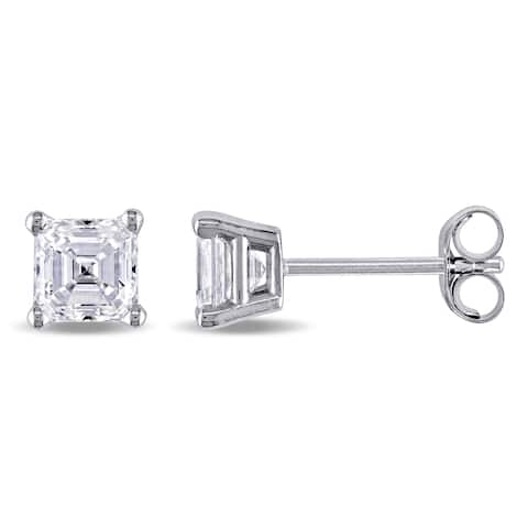 628491d88 Miadora Signature Collection 7/8ct TDW Asscher-Cut Diamond Solitaire Stud  Earrings in 14k