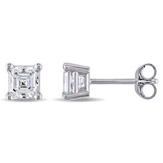 7/8ct TDW Asscher-Cut Diamond Solitaire Stud Earrings in 14k White Gold by The Miadora Signature Collection