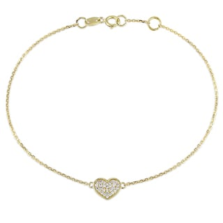 Miadora 1/10ct TDW Diamond Heart Charm Bracelet in 14k Yellow Gold