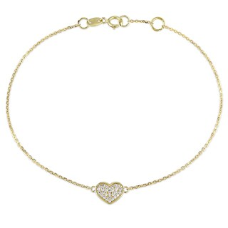 Miadora 1/10ct TDW Diamond Heart Charm Bracelet in 14k Yellow Gold