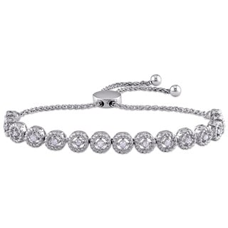1/2 CT TDW Diamond Beaded Bolo Bracelet in Sterling Silver by Miadora
