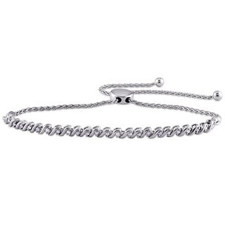 1/3ct TDW Diamond Swirl Bolo Bracelet in Sterling Silver by Miadora