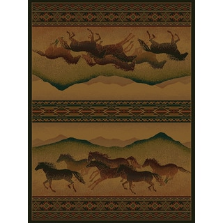 Westfield Home Ridgeland Multicolor Polypropylene Galloping Horses Accent Rug (3'11 x 5'3)
