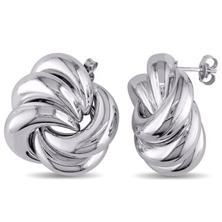 Swirl Knot Stud Earrings in Polished Italian Sterling Silver by Miadora