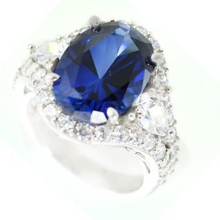 One-of-a-kind Michael Valitutti Created Blue Sapphire and Cubic Zirconia Cocktail Ring