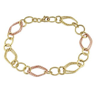 Textured Geometric Link Bracelet in 18k 2-tone Yellow and Rose Gold by Miadora
