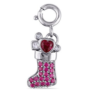 Created Ruby and Created White Sapphire Christmas Stocking Charm in Sterling Silver by Miadora