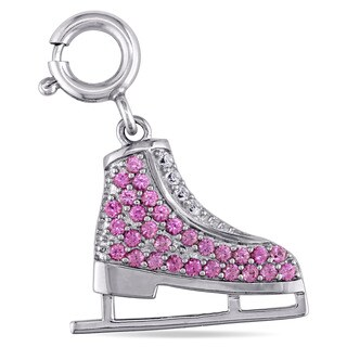 Miadora Created Pink and Created White Sapphire Ice Skate Pendant in Sterling Silver