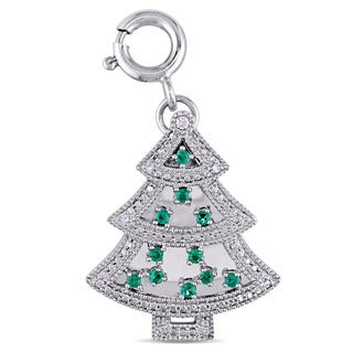 Created Emerald and Created White Sapphire with Diamonds Christmas Tree Pendant in Sterling Silver by Miadora