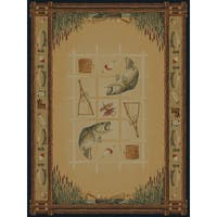 Ridgeland Fish Border Area Rug - 5'3 x 7'6