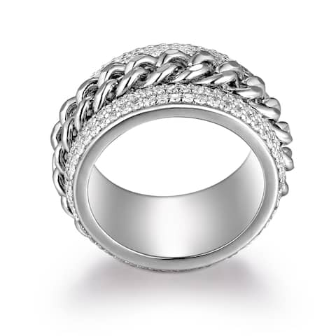 Rhodium Plated Brass Link Statement Ring