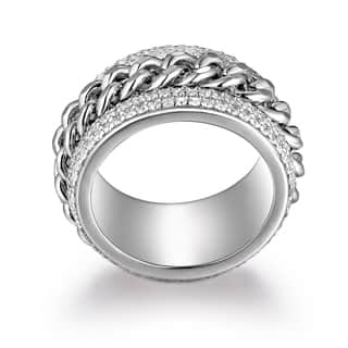 Rhodium Plated Brass Link Statement Ring|https://ak1.ostkcdn.com/images/products/12729186/P19508526.jpg?impolicy=medium
