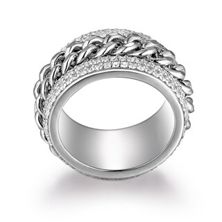 Rhodium Plated Brass Link Statement Ring